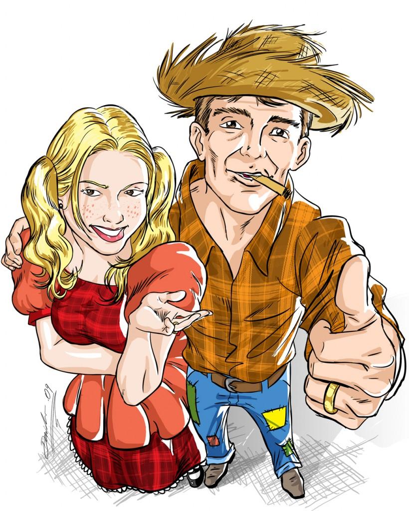 Lívia e Guilherme - caricatura by Danilo Aroeira