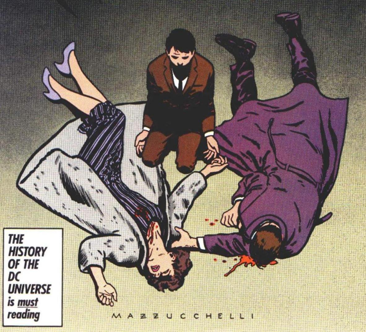Os pais do jovem Bruce mortos aos seus pés - Batman, Ano Um (1987) - Frank Miller & Dave Mazzuchelli