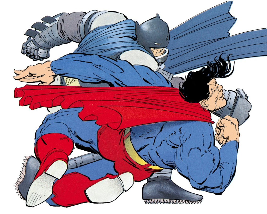 Batman punches Superman on The Dark Knight Returns - Frank Miller, 1986