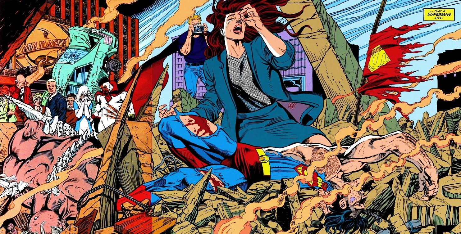 Super-Homem desfalecido aos pés de Lois (by Dan Jurgens) - A Morte do Super-Homem, 1992