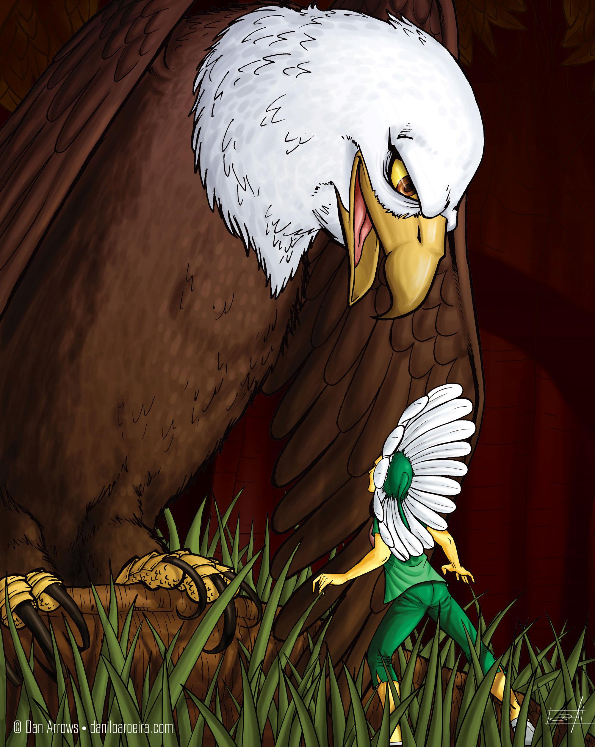 A margarida Lorena conhece sua amiga, a Águia norte-americana